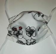 Rouška bavlněná-bílá s květy