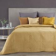 Sametový přehoz na postel Sarah žlutý-hořčicový