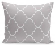 Dekorační polštář šedý s bílým vzorem