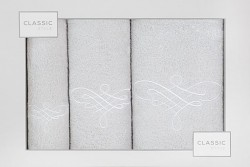 Sada ručníků a osušky stříbrno-bílá