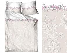 Povlečení  bavlněné bílo-růžové s květy
