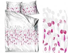 Povlečení  bavlněné bílo-růžové s tulipány