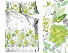 Povlečení  bavlněné zelené květy