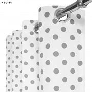 Závěsy bílé s šedými puntíky