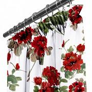 Moderní závěs Červené květy -na řasící stuhu