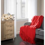 Dekorační deka červená s třásněmi 220/240cm
