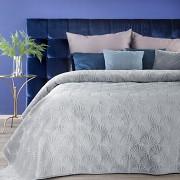Sametový přehoz na postel stříbrný RIA-vel. 170x210cm