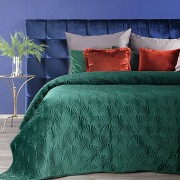 Sametový přehoz na postel zelený RIA