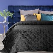Sametový přehoz na postel černý RIA -vel. 170x210cm