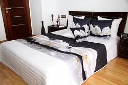 Přehoz na postel bílý, černý vzor s orchidejí
