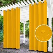 Závěs na terasu žlutý- průchodky- voděodolný