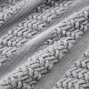 Šedý pléd pletený se střapci