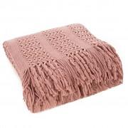 Starorůžový pléd pletený se střapci