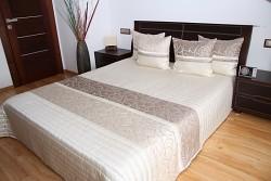Přehoz na postel béžový -sametový vzor