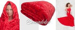 Luxusní deka z mikrovlákna-160x210cm-vzor 77 (25)-červená s růžemi