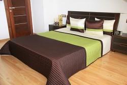 Luxusní přehoz na postel  16w hnědo zelený-rozměry š.170cmx d.210cm(včetně 2ks povlaků na polštář 50x60cm)