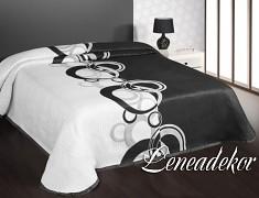 Oboustranný přehoz na postel bílo-černý NO99