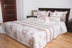 Bílý přehoz na postel s květy 28i