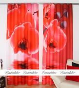 Moderní závěs 3D- Orchidej červená -set 2ks