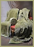 Přehoz na sedací soupravu olivový -3dílný- vzor 21 s vytlačeným motivem