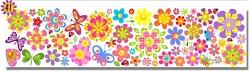 Samolepky na zeď LONG - vzor 41-kytičky a motýlci