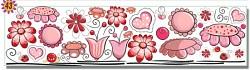 Samolepky na zeď LONG - vzor 43-růžové květinky