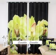 Moderní závěs 3D černý se zelenou orchidejí ZR36 set 2ks
