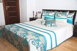 Přehoz na postel 28o krémovo-tyrkysový