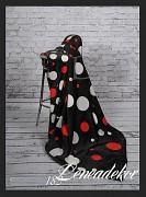 Luxusní deka z mikrovlákna-160x210cm-vzor 183-bílá,červená kolečka na černém podkladě