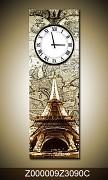 Obrazové hodiny Paříž 30x90cm