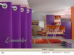 Závěs s dekoračními kruhy-59- fialový vřesový